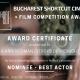 Nominated Best Actor at the Bucharest Shortcut Cinefest 2020